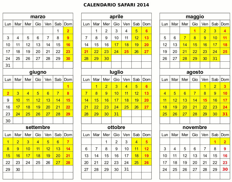 Calendario Mirabilandia.Safari Ravenna Calendario Apertura 2014 Safari Ravenna Loc